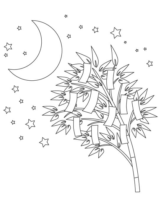七夕飾りと星と月のぬりえイラスト