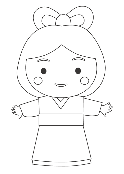 七夕の織姫のぬりえイラスト