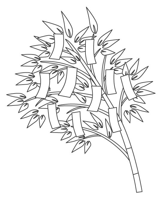 七夕・短冊とシンプルな笹の葉のぬりえイラスト