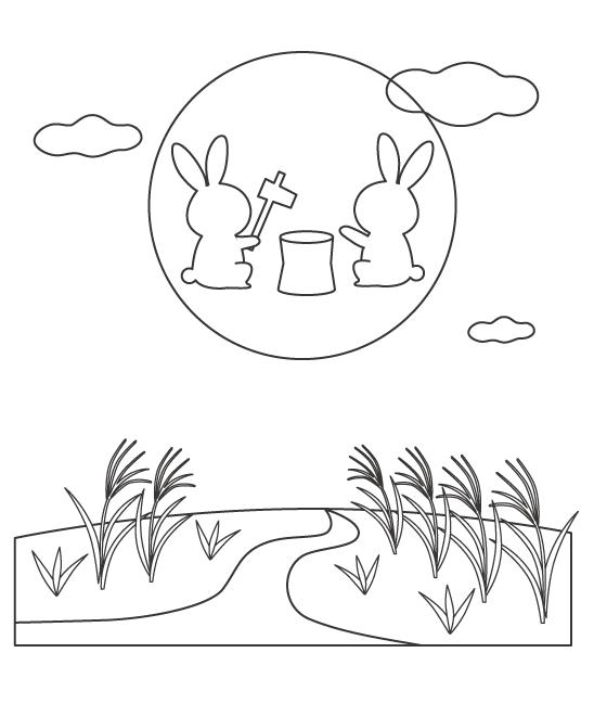 月でお餅つきをしているうさぎとススキのぬりえイラスト