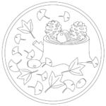 切り株と秋のイメージのぬりえイラスト