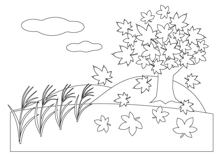 ススキや紅葉などの秋の風景のぬりえイラスト