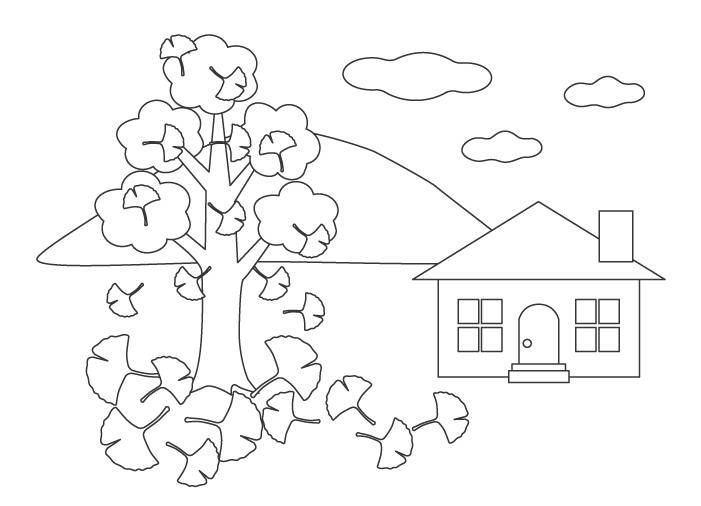イチョウの木とお家のぬりえイラスト
