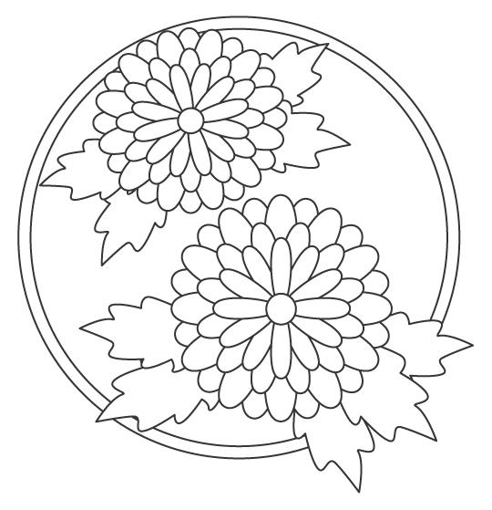 花の大輪のぬりえイラスト