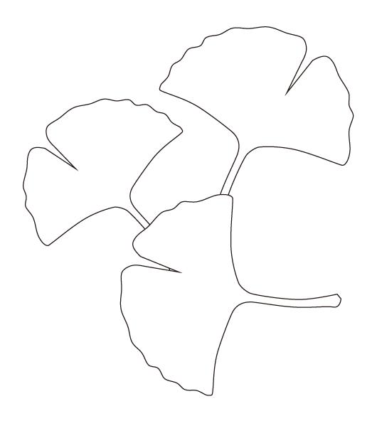 イチョウ(銀杏)の葉のぬりえ