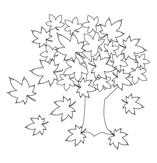 紅葉の木のぬりえ