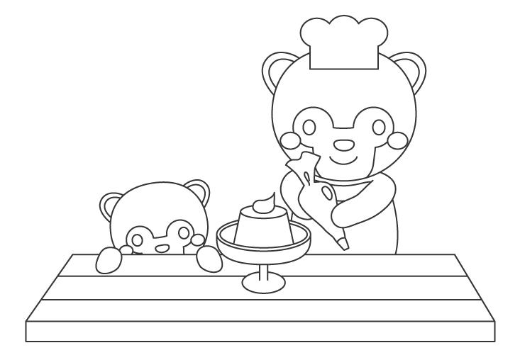 プリンを作っているアナグマの親子のぬりえイラスト