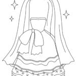 ウエディングドレスとヴェールのぬりえイラスト
