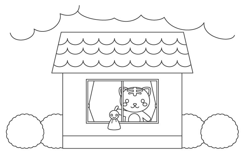 てるてる坊主と猫のぬりえイラスト