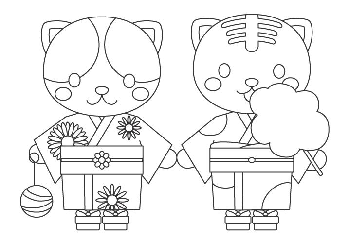 浴衣を着ている猫のぬりえイラスト