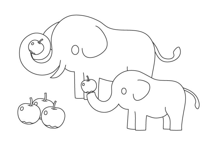 リンゴと象の親子のぬりえイラスト