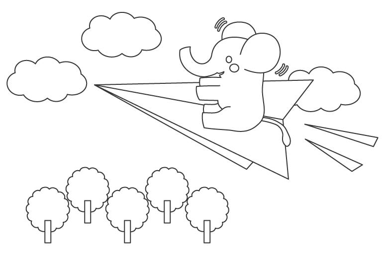 紙飛行機に乗っているゾウさんのぬりえイラスト