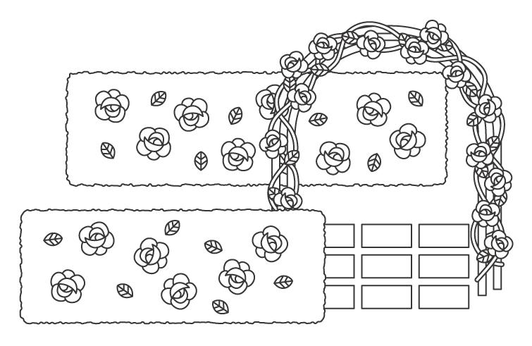 バラ園・ガーデンのぬりえイラスト