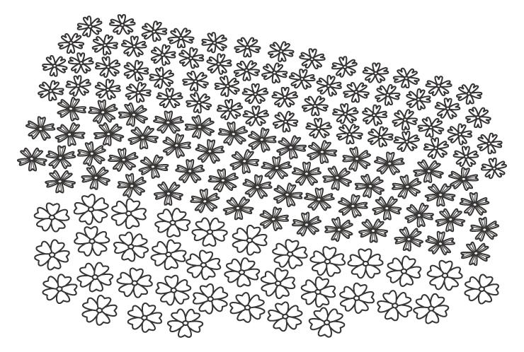 一面の芝桜のぬりえイラスト
