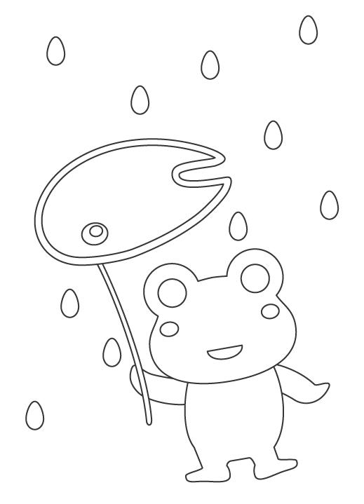 雨の日とカエルのぬりえイラスト