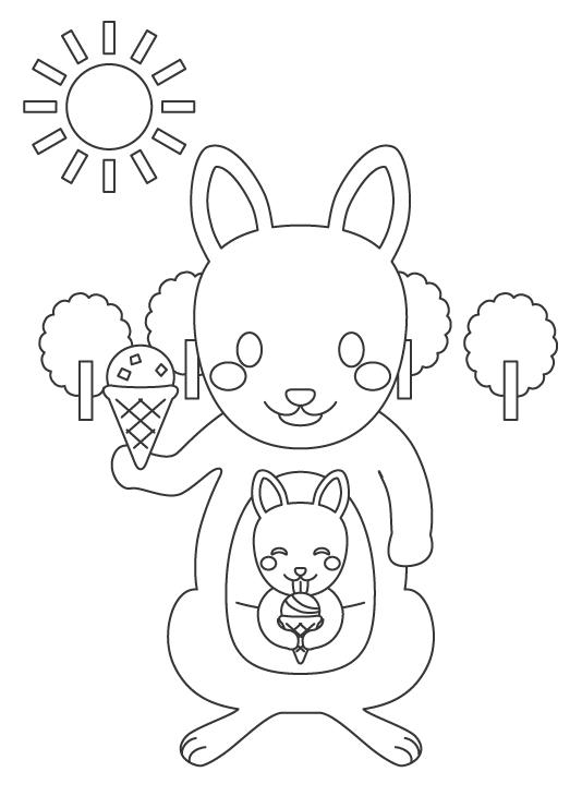 かわいいカンガルーの親子とアイスクリームのぬりえイラスト