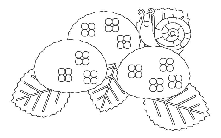 紫陽花とかわいいカタツムリのぬりえイラスト