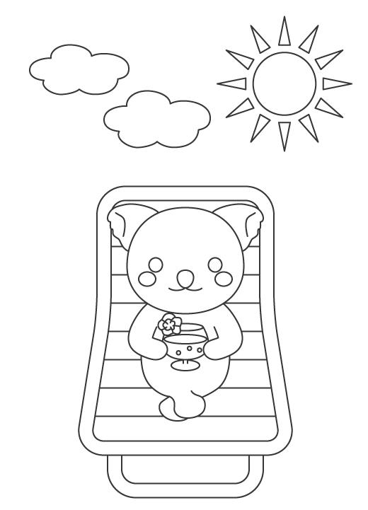 日光浴をするコアラのぬりえイラスト