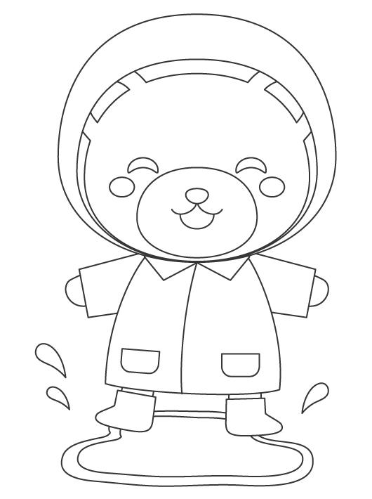 水溜まりで遊ぶクマさんのぬりえイラスト
