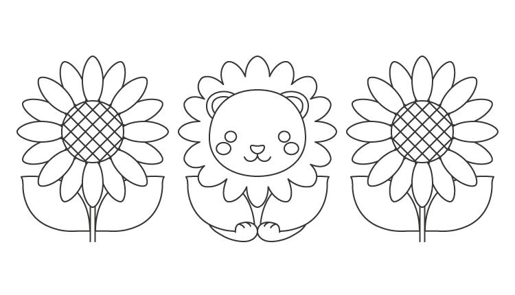 ライオンと向日葵のぬりえイラスト