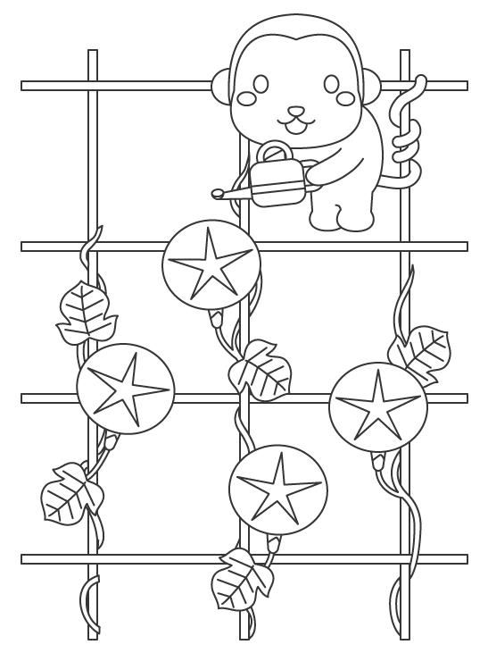お猿さんと朝顔のぬりえイラスト