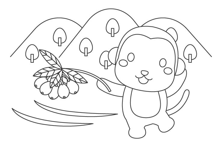 かわいいお猿さんとビワのぬりえイラスト