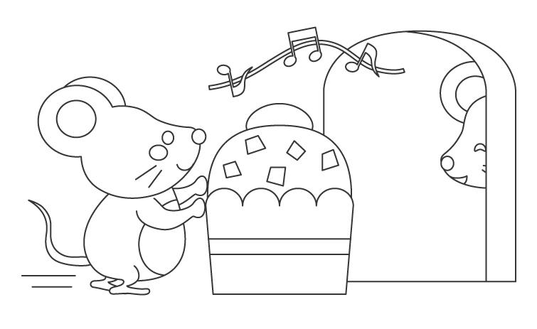 かわいいネズミとカップケーキのぬりえイラスト