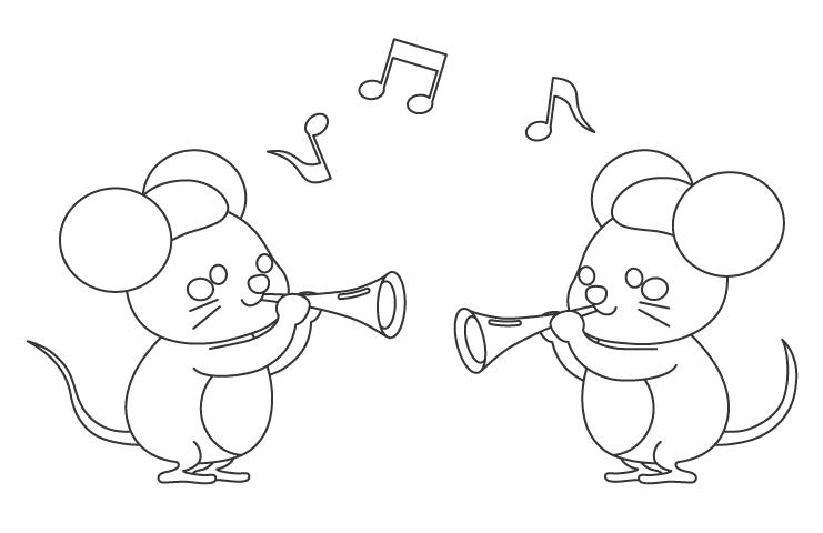 ラッパを吹くネズミのぬりえイラスト