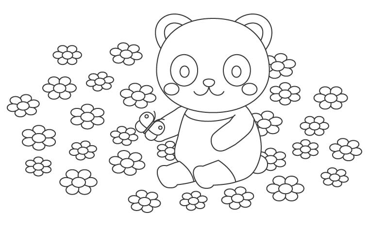 かわいいパンダとお花畑のぬりえイラスト