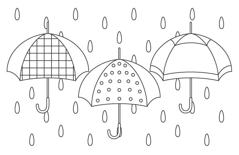 いろいろな模様の傘と雨のぬりえイラスト