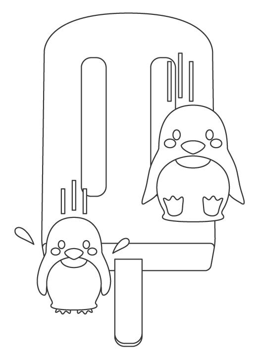かわいいペンギンとアイスキャンディーのぬりえイラスト