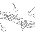 さくらんぼと音楽のぬりえイラスト