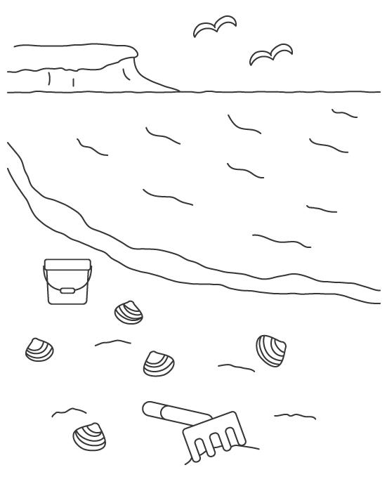 潮干狩りのぬりえイラスト