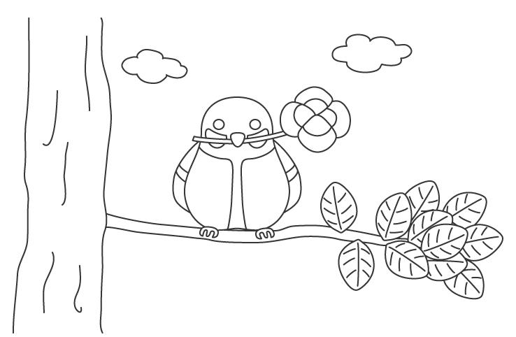 四つ葉のクローバーをくわえたシジュウカラのぬりえイラスト