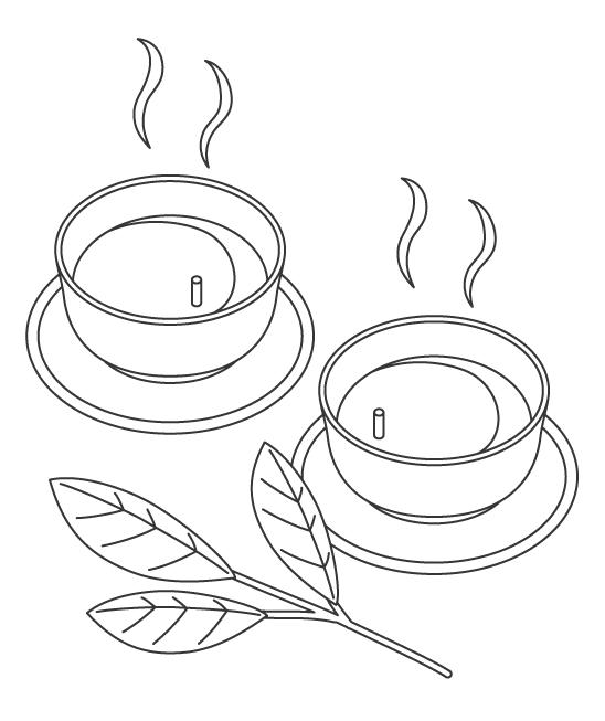 緑茶のぬりえイラスト