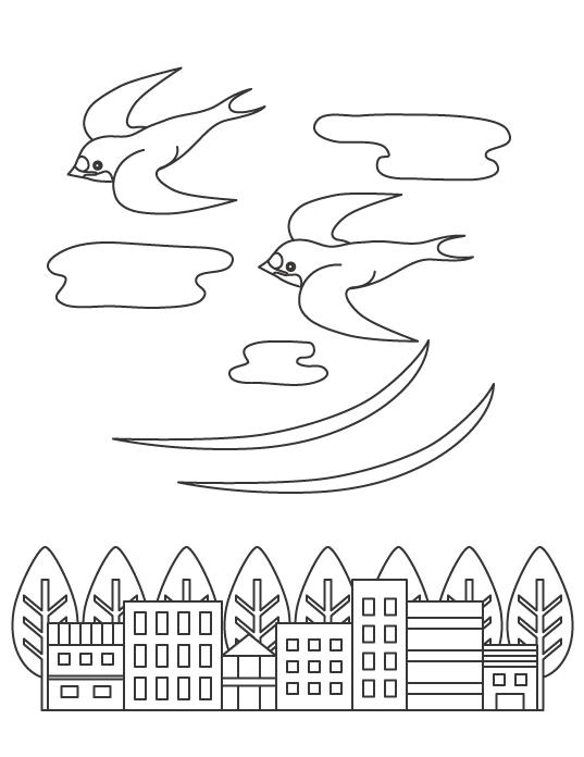 ツバメと街並みのぬりえイラスト