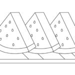 カットされたスイカのぬりえイラスト