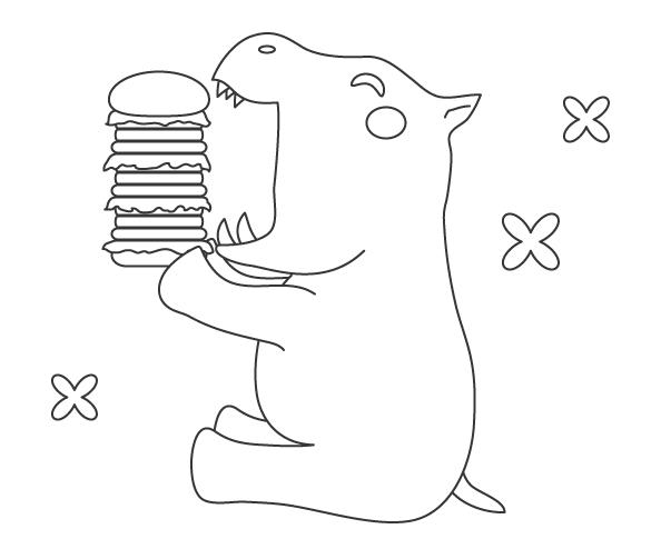 カバとハンバーガーのぬりえイラスト