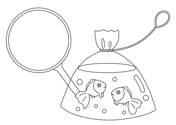 金魚すくいでとった金魚のぬりえイラスト