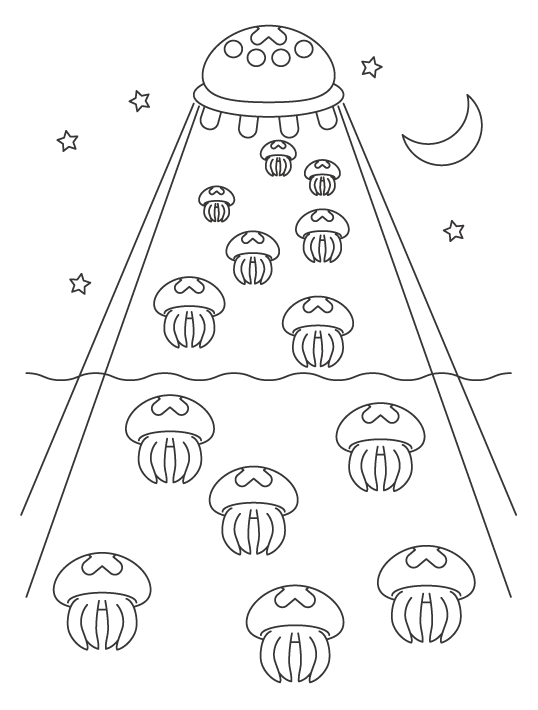 UFOとクラゲのぬりえイラスト