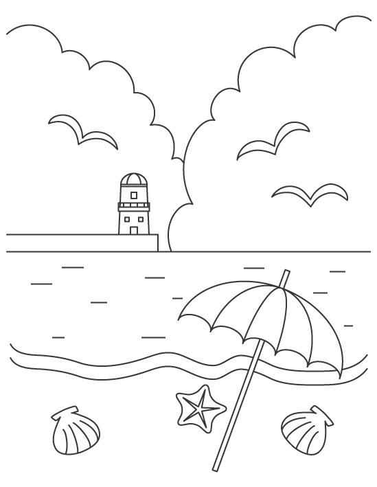 灯台と夏の海の風景のぬりえイラスト