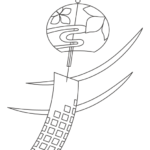 夏・風鈴のぬりえイラスト