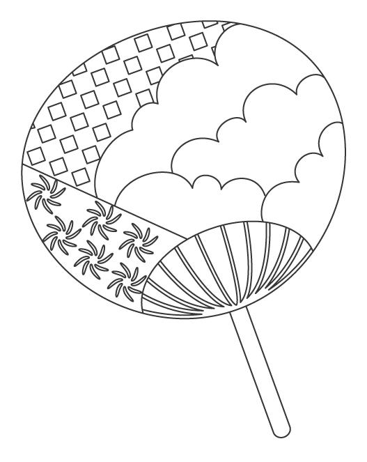 うちわ(団扇)のぬりえイラスト
