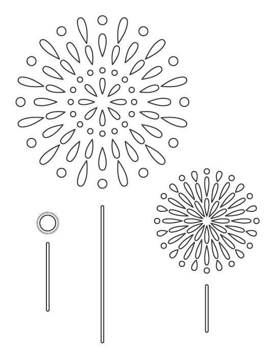 打ち上げ花火のぬりえイラスト02