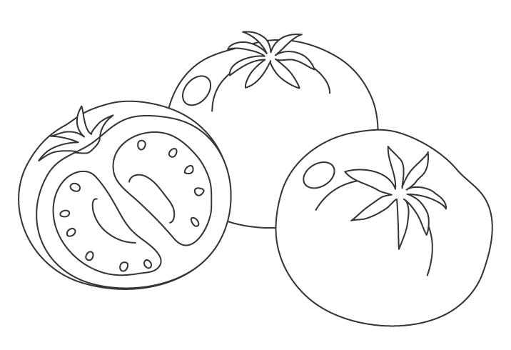 トマトのぬりえイラスト